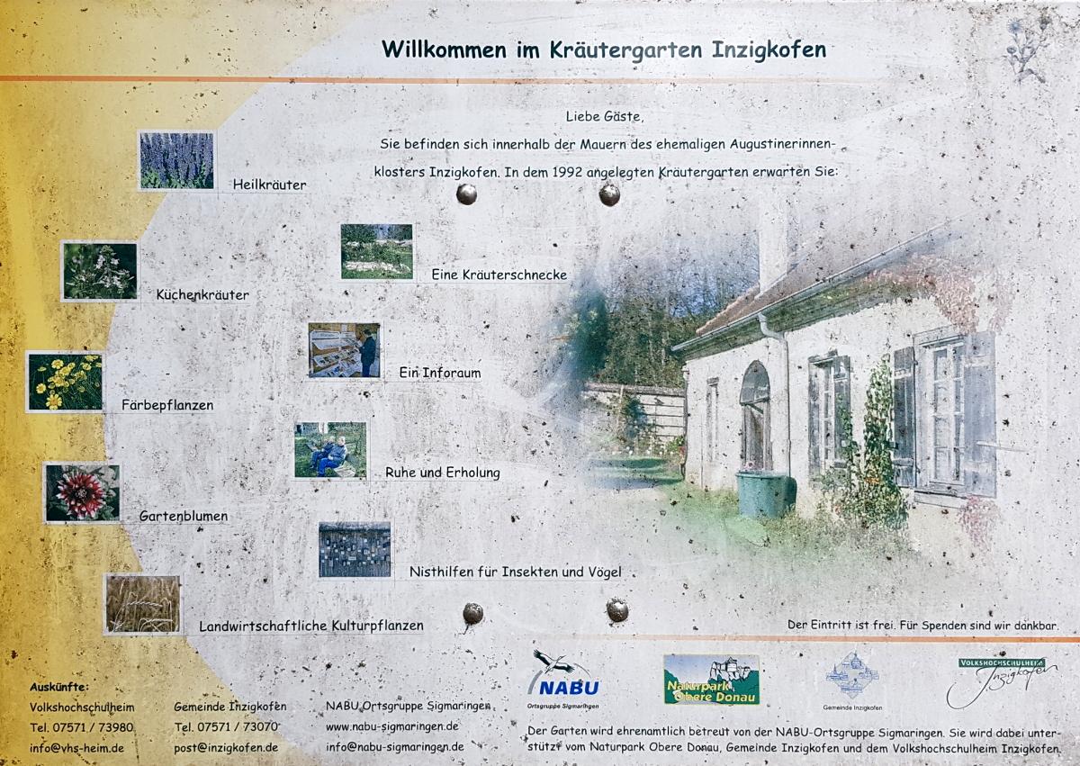 Übersicht über die Abteilungen des Kräutergarten im Kloster von Inzigkofen